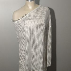DGH off the shoulder white and silver top Size M